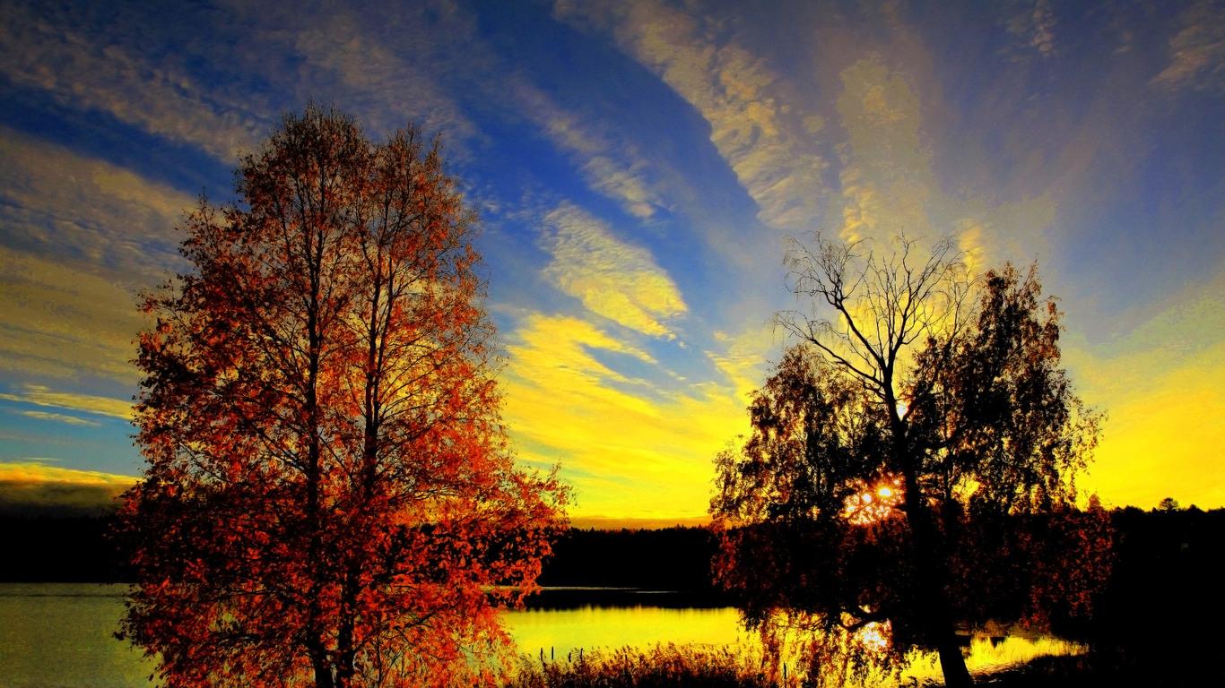 Картинки осень с разрешением экрана 1366х768