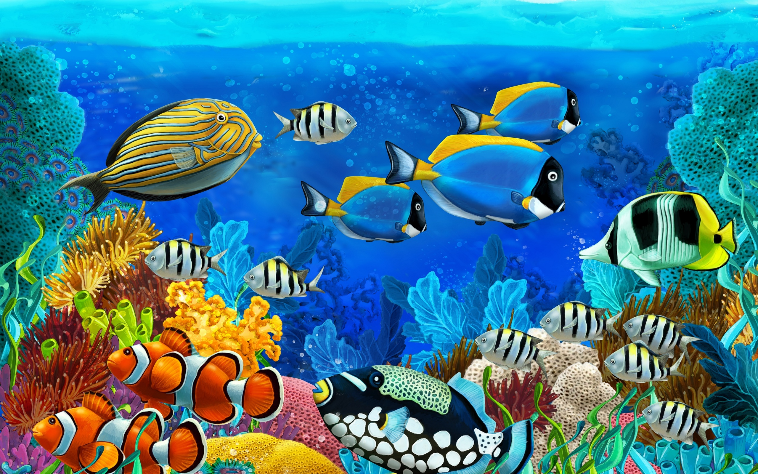 Морские рыбки: обои и картинки на рабочий стол, скачать бесплатно.